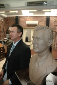 Finished clay sculpture of Wayne Sharpe, founder of Barter Card Australia