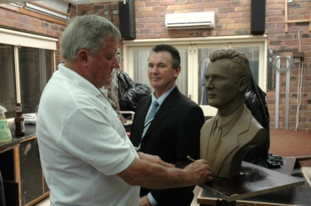 David Mackay Harrison at work on the clay model of the commissioned bronze sculpture of Wayne Sharpe, founder of Barter Card Australia