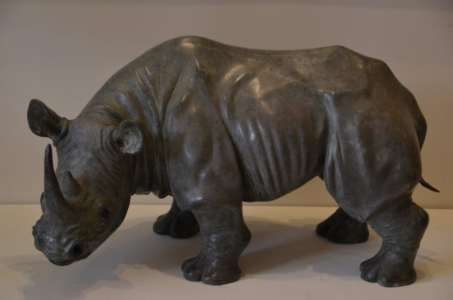 Large Rhino Bronze Sculpture